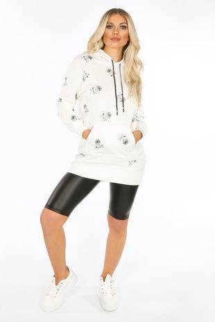 White Longline Hoodie With Skull Print