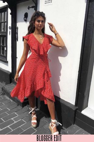 Sleeveless Midi Wrap Dress in Red Polka Dot
