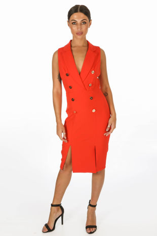 Sleeveless Tuxedo Midi Dress In Red