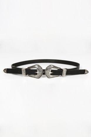 Slim Silver Double Buckle Belt