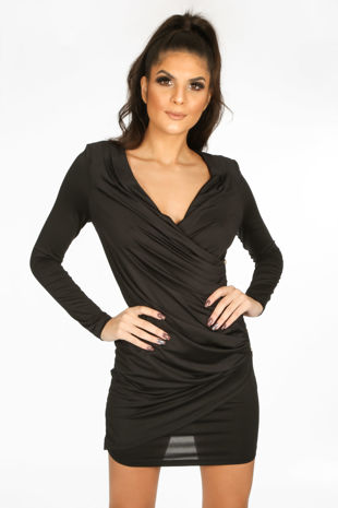 Black Plunge Wrap Mini Bodycon Dress