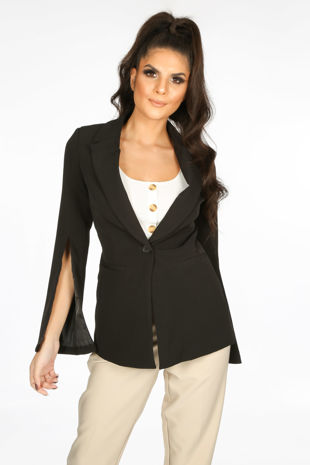 Tailored Blazer with Open Sleeve In Black