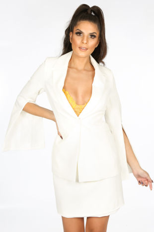 Tailored Blazer with Open Sleeve In White