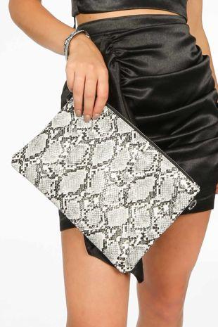 Monochrome Faux Snake Skin Clutch Bag