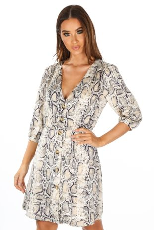 Snake Print Mini Dress With Button Detail
