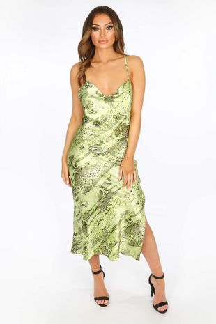 Green Satin Snake Print Cowl Neck Midi Dress