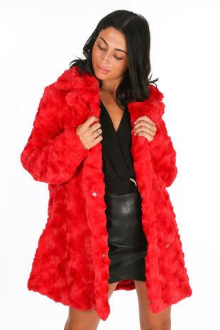 Soft Faux Fur Teddy Coat In Red