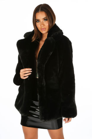 Soft Luxury Faux Fur Jacket In Black