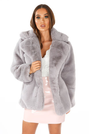 Soft Luxury Faux Fur Jacket In Grey