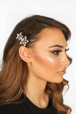 Silver Star Diamante Hair Slide