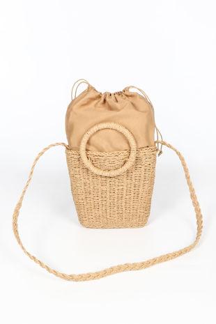 Tan Wicker Bucket Bag
