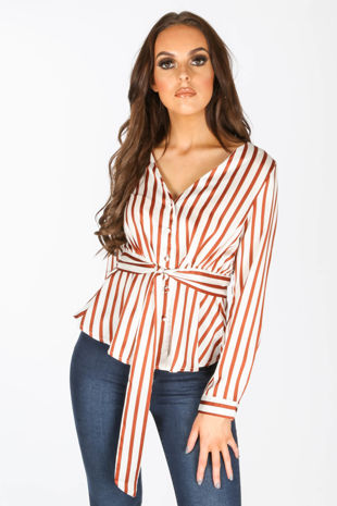 Rust Striped Satine Peplum Blouse
