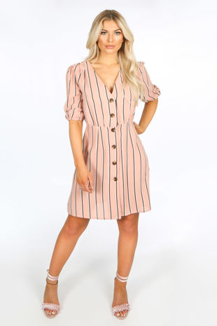 Pink Striped Print Mini Dress With Button Detail