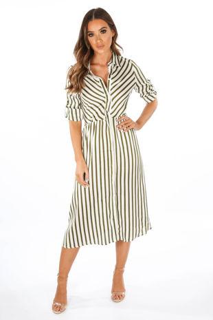 Khaki Striped Satine Shirt Dress