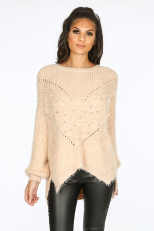 Metallic Studded Jumper In Pink