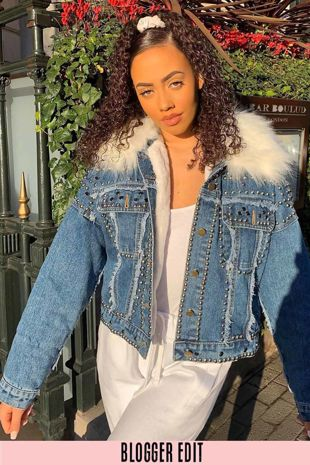 Studded White Faux Fur Oversized Denim Jacket