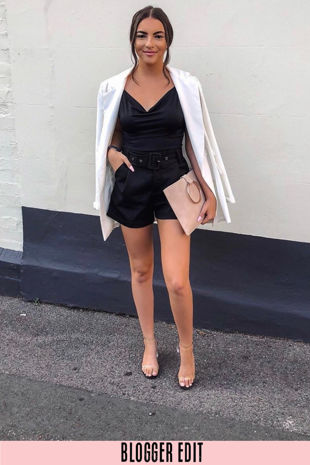 Tailored Shorts With Belt In Black