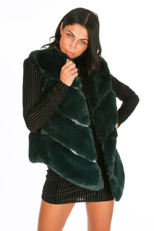 Teal Luxury Faux Fur Gilet