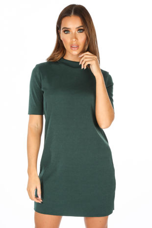 Teal Ribbed Short Sleeve Jersey Dress