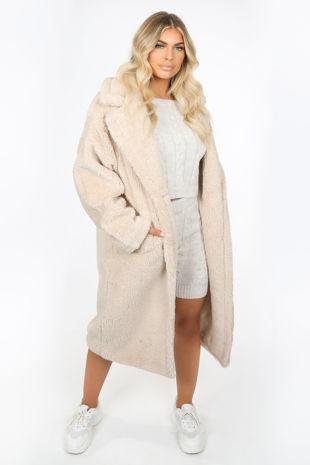Longline Cream Borg Teddy Coat