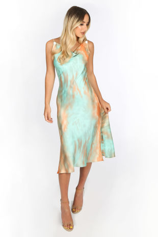 Green Tie Dye Satin Cowl Neck Midi Dress