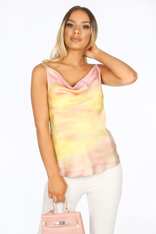 Yellow Tie Dye Cowl Neck Cami Top