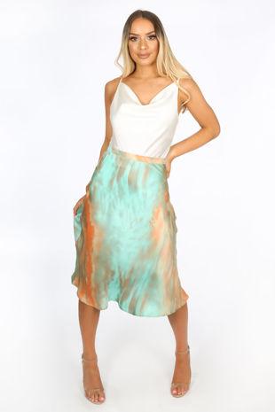 Green Tie Dye Satine Bias Cut Midi Skirt