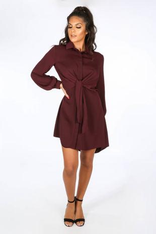 Tie Front Shirt Dress In Burgundy