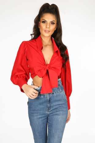Red Tie Front Cropped Shirt
