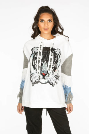 White Embellished Tiger Print Hodded Sweatshirt