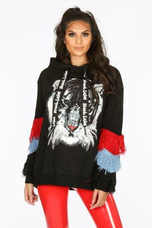 Black Embellished Tiger Print Hodded Sweatshirt