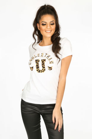 White T-Shirt With Leopard Print Motif