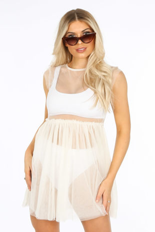 Sheer Tulle Dress In Cream