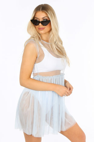 Sheer Tulle Dress In Blue