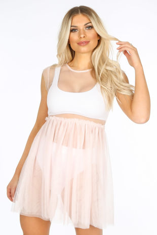 Sheer Tulle Dress In Pink