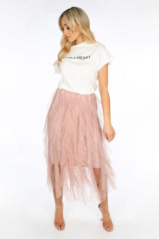 Pink Ruffle Draped Midi Tulle Skirt