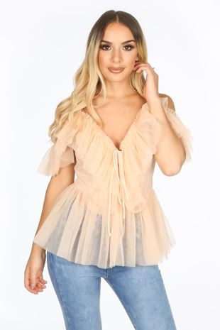 Pink Cold Shoulder Peplum Tulle Top