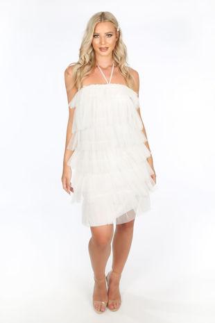 White Layered Tulle Halter Neck Dress