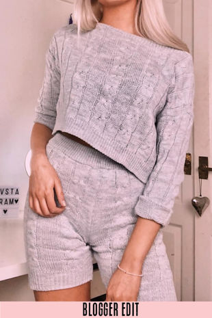 Grey Knitted Jumper And Shorts Set
