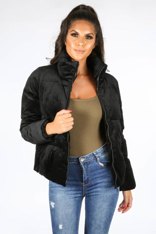 Black Padded Velvet Bomber Jacket