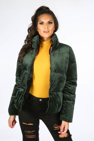 Green Padded Velvet Bomber Jacket
