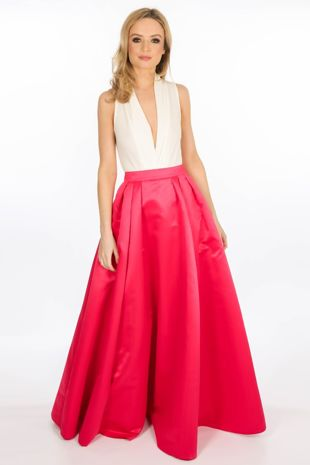 Floor Length Satin Maxi Skirt In Fuchsia