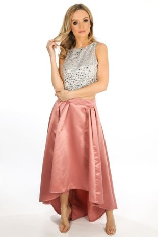 Blush Dip Back Satin Maxi Skirt