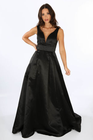 Plunge Neck Satin Maxi Dress In Black