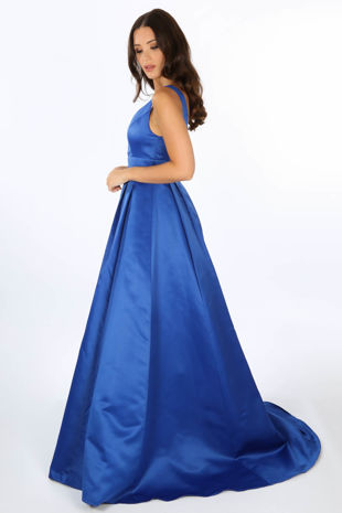 Plunge Neck Satin Maxi Dress In Cobalt Blue