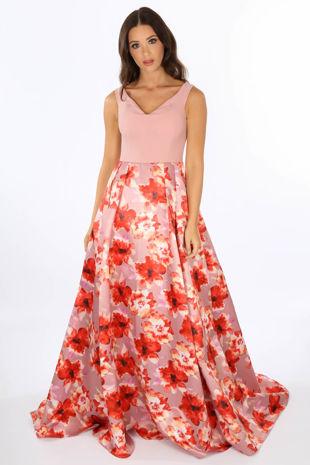 Pink Floral Print Satin Maxi Dress