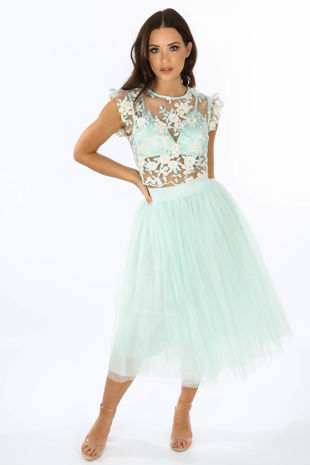 Midi Tulle Skirt In Mint
