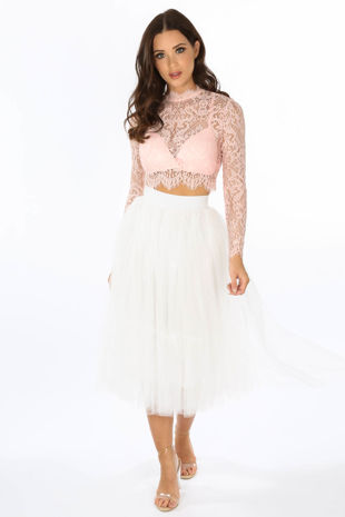 Midi Tulle Skirt In White