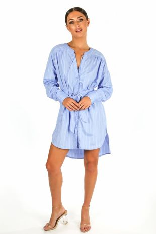 Striped Belted Shirt Dress In Blue