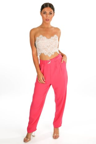 Crepe D-Ring Belted Trouser In Fuchsia